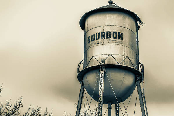 Photograph - Sepia Bourbon Water Tower - Whiskey Art by Gregory Ballos