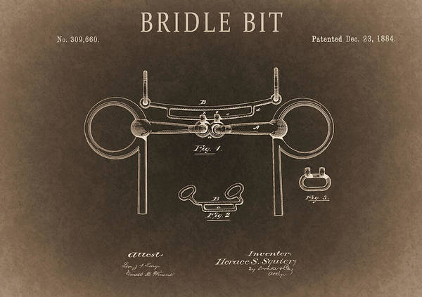 Drawing - Sepia Bridle Bit Design by Dan Sproul