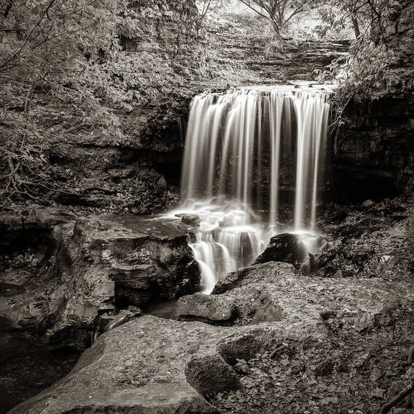 Wall Art - Photograph - Sepia Falls Of Tanyard Creek - Bella Vista Arkansas by Gregory Ballos