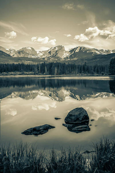 Photograph - Sepia Rocky Mountain Morning Reflections - Estes Park Colorado by Gregory Ballos