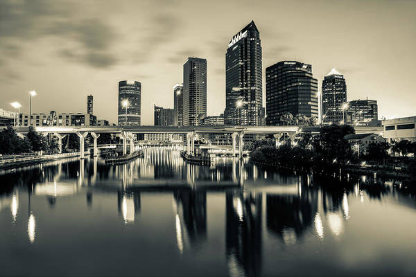 Photograph - Sepia Tampa Florida Skyline Reflections by Gregory Ballos