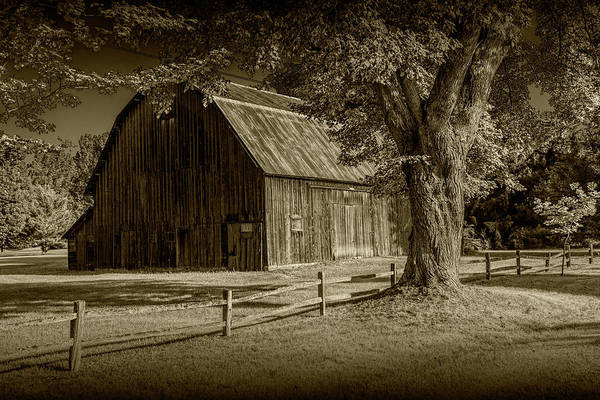 Photograph - Sepia Tone Of A Wooden Weathered Barn In West Michigan by Randall Nyhof