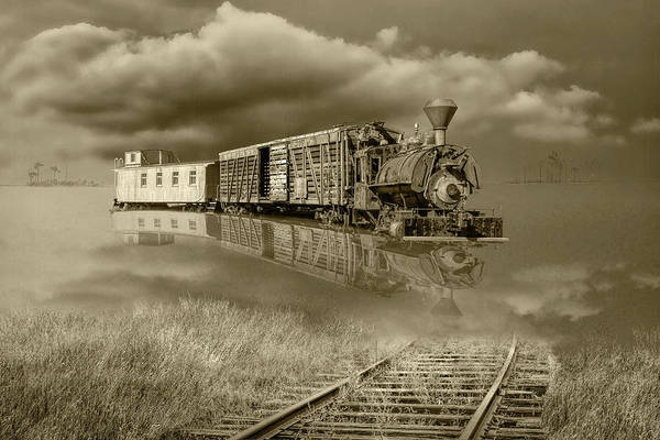 Photograph - Sepia Tone Of On Life's Railway With Old Steam Locamotive Engine by Randall Nyhof
