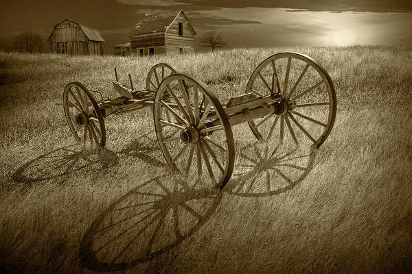 Wall Art - Photograph - Sepia Tone Photograph Of A Farm Wagon Chassis In A Grassy Field  by Randall Nyhof