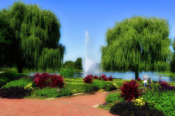 Wall Art - Photograph - September Fountain Crescent Garden Chicago Botanic Garden 01 by Thomas Woolworth