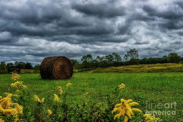 Photograph - September Stormy Sky Hay Bale by Thomas R Fletcher