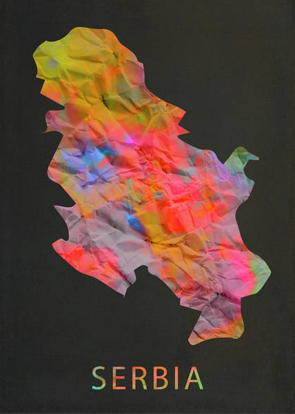 Wall Art - Photograph - Serbia Tie Dye Country Map by Design Turnpike