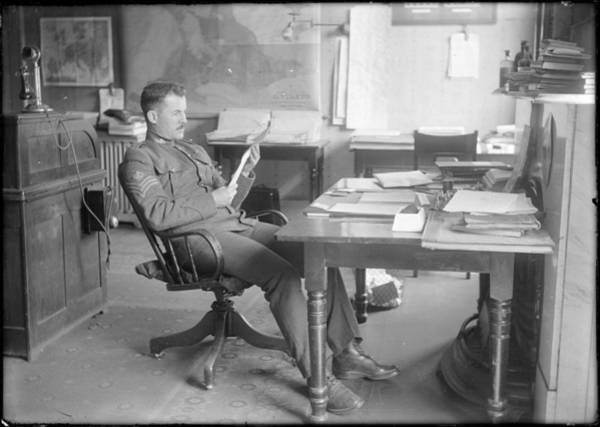 Painting - Sergeant At Desk Reading 1914 by Celestial Images