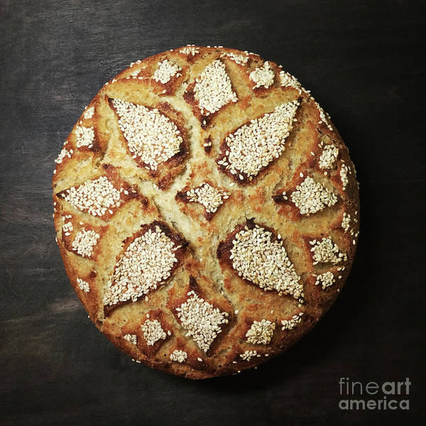 Photograph - Sesame Seed Flower Scored Sourdough 1 by Amy E Fraser