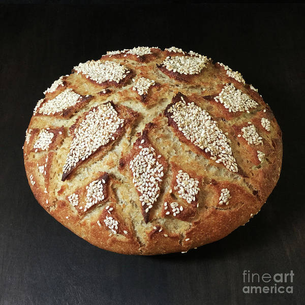 Photograph - Sesame Seed Flower Scored Sourdough 2 by Amy E Fraser