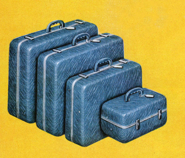 Horizontal Digital Art - Set Of Blue Suitcases by Graphicaartis
