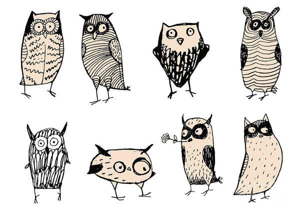 Wildlife Digital Art - Set Of Cute And Funny Owls. Unusual by Iralu