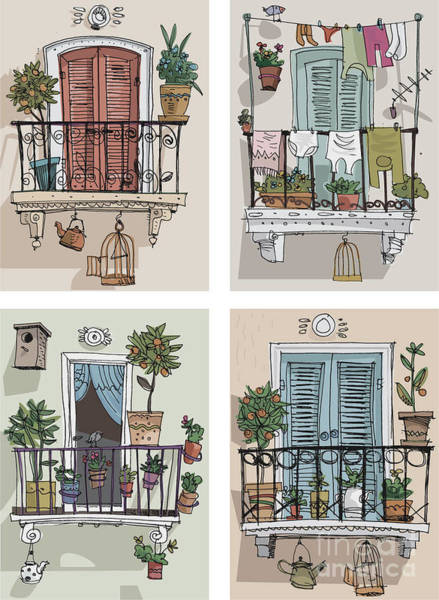 Wall Art - Digital Art - Set Of Cute Balcony - Cartoon by Iralu
