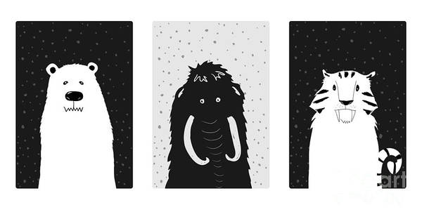 Wall Art - Digital Art - Set Of Cute Ice Age Animals. Mammoth by Salvadorova