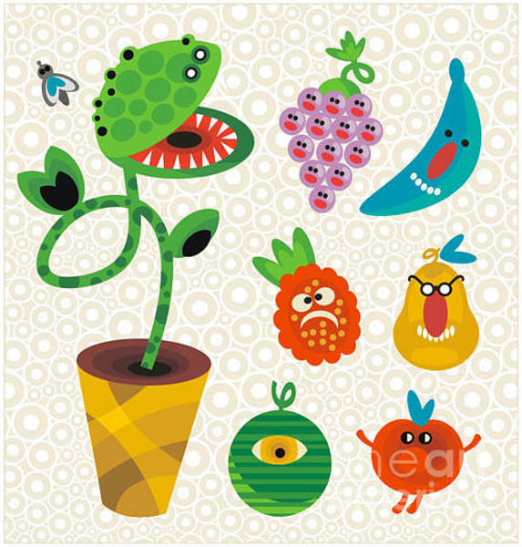 Repetition Wall Art - Digital Art - Set Of Cute Plant Monsters. Vector by Eka Panova