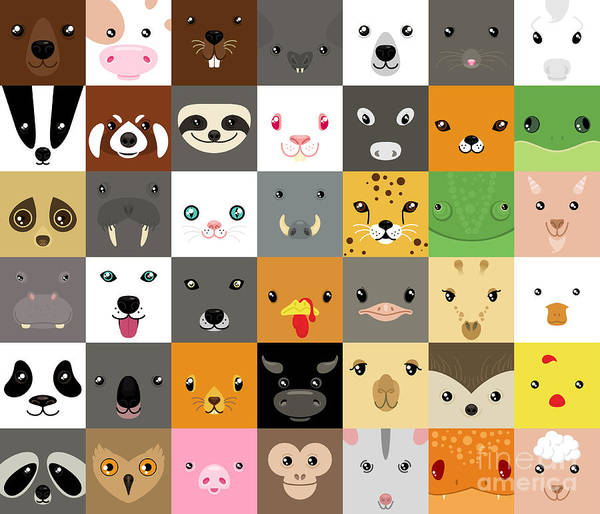 Wall Art - Digital Art - Set Of Cute Simple Animal Faces by Olesia Misty