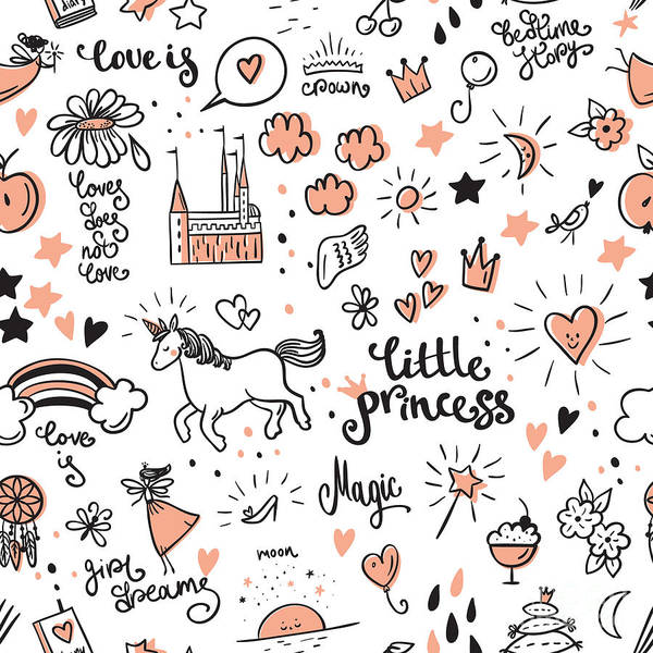 Magic Wall Art - Digital Art - Set Of Doodle Princess And Fantasy Icon by Stoliarova Daria