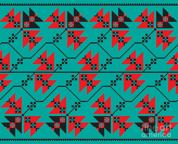 Wall Art - Digital Art - Set Of Ethnic Floral Geometric Pattern by Zinaida Zaiko