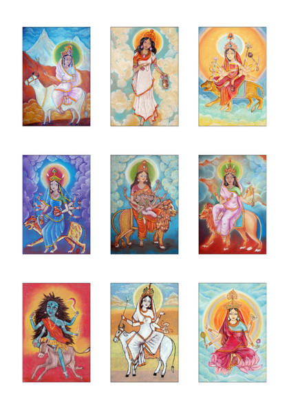 Hindu Goddess Drawing - Set Of Images Of Indian Goddess Navaratri. Pastel Drawing. by Elena Sysoeva