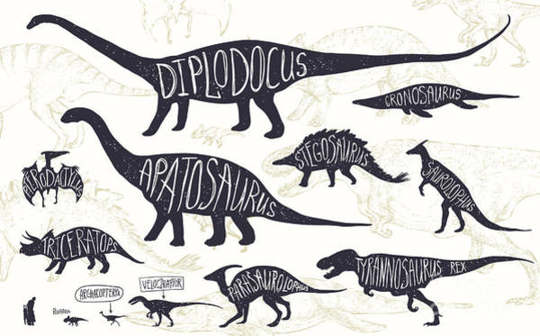 Set Of Silhouettes Of Dinosaurs And Art Print