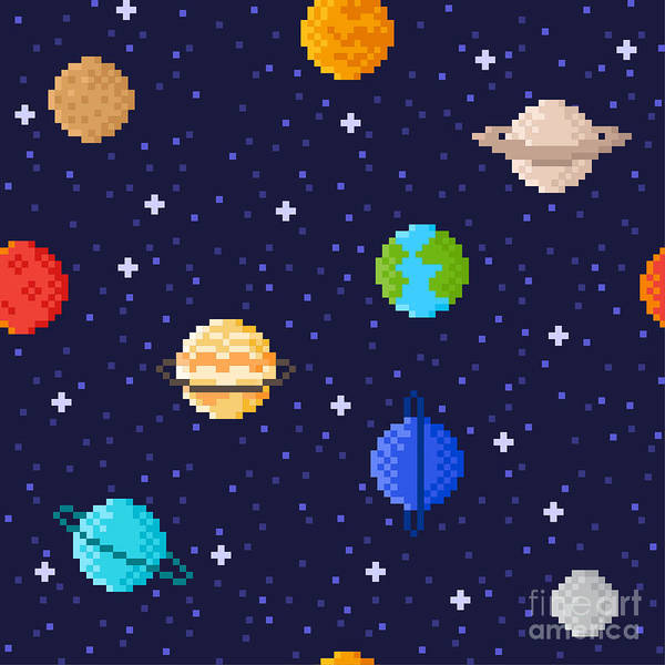 Earth Science Wall Art - Digital Art - Set Of Solar System Planets Mercury by Maria Zvonkova