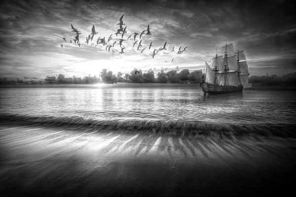 Wall Art - Photograph - Setting Sail At Dawn Black And White by Debra and Dave Vanderlaan