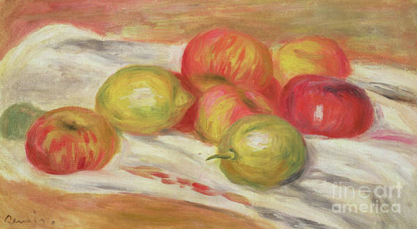 Wall Art - Painting - Seven Apples, 1910 by Pierre Auguste Renoir