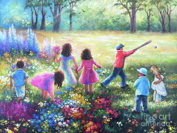 Wall Art - Painting - Seven Garden Children by Vickie Wade