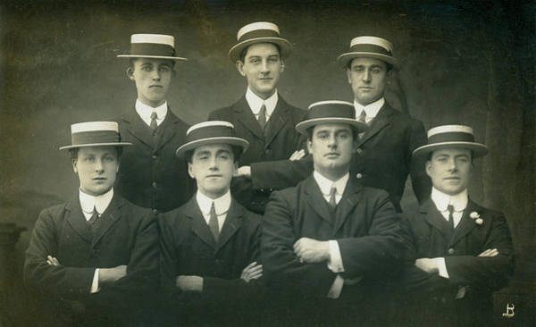 Straw Hat Photograph - Seven Men In Boater Hats by Graphicaartis