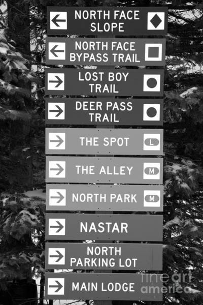 Somerset County Photograph - Seven Springs Ski Resort Directions Black And White by Adam Jewell