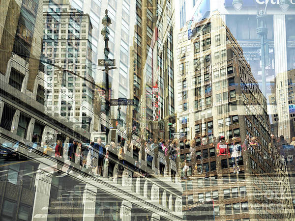 Photograph - Seventh Avenue Double Exposure New York City by John Rizzuto