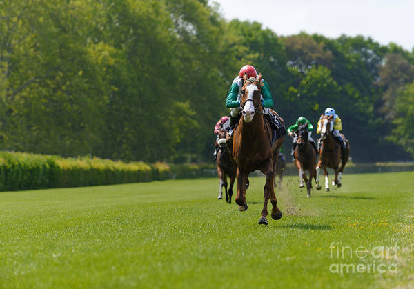 Aspiration Wall Art - Photograph - Several Racehorses With Jockeys During by Gibleho