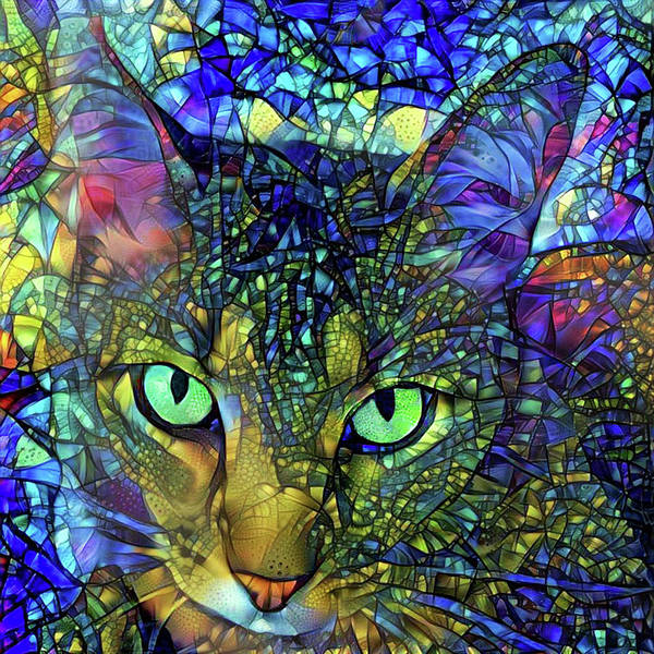 Wall Art - Digital Art - Severus The Tabby Cat - Stained Glass by Peggy Collins