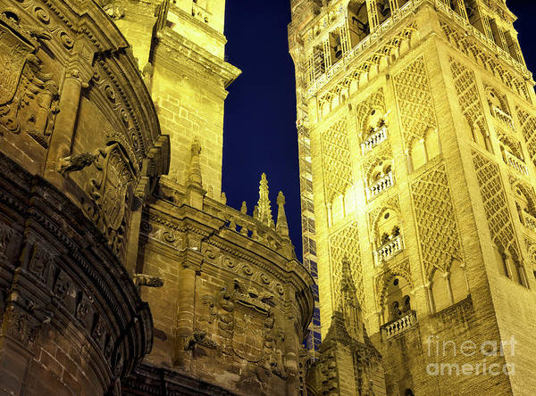 Catedral De Sevilla Wall Art - Photograph - Seville Cathedral Night Glow In Spain by John Rizzuto