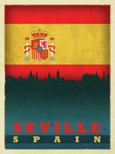 Wall Art - Mixed Media - Seville Spain City Skyline Flag by Design Turnpike