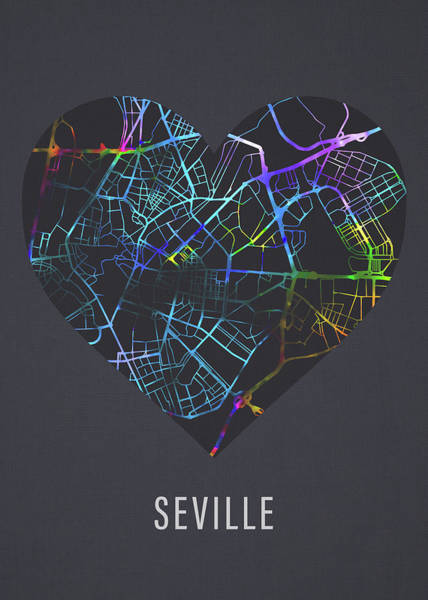 Wall Art - Mixed Media - Seville Spain City Street Map Heart Love Dark Mode by Design Turnpike