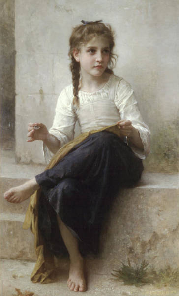 Painting - Sewing By Adolphe-william Bouguereau by Portraits By NC