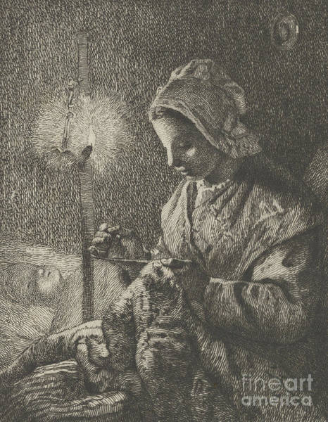 Care Drawing - Sewing By Lamplight by Jean-Francois Millet