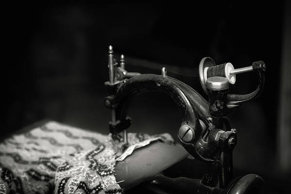 Wall Art - Photograph - Sewing In Black And White by Marnie Patchett