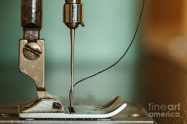 Dressmaker Wall Art - Photograph - Sewing Machine And Thread Rolling by Dollatum Hanrud