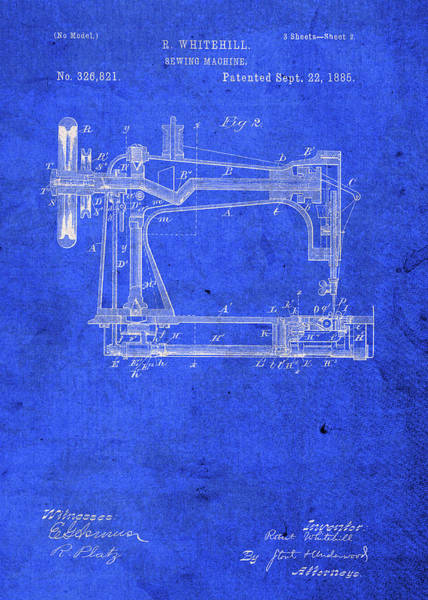 Patent Mixed Media - Sewing Machine Invention Patent Blueprint by Design Turnpike