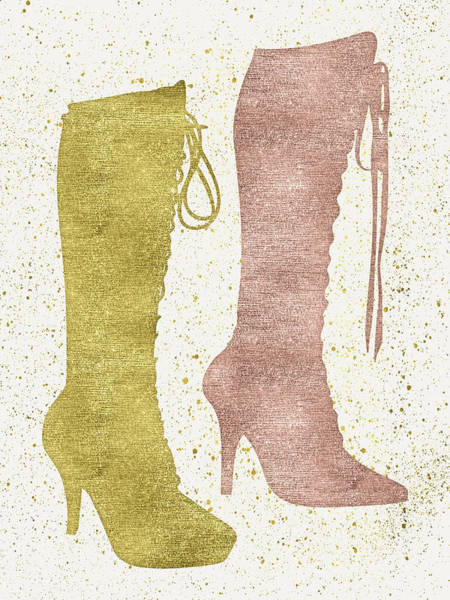 Outfit Digital Art - Sexy Boots Gold And Rose Gold by Flo Karp