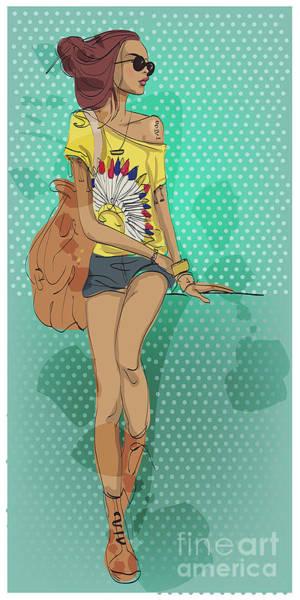 Wall Art - Digital Art - Sexy Fashion Girl In Sketch Style by Elena Barenbaum