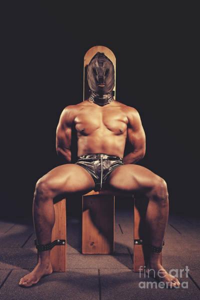 Sexy Man Tiedup On A Bdsm Chair Art Print