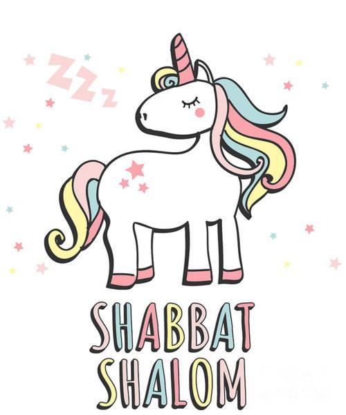 Digital Art - Shabbat Shalom Jewish Unicorn  by Flippin Sweet Gear