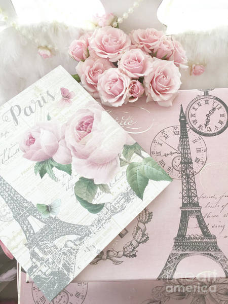 Wall Art - Photograph - Shabby Chic Cottage Paris Pink Roses Romantic Cottage - Parisian Pink Roses Wall Decor  by Kathy Fornal