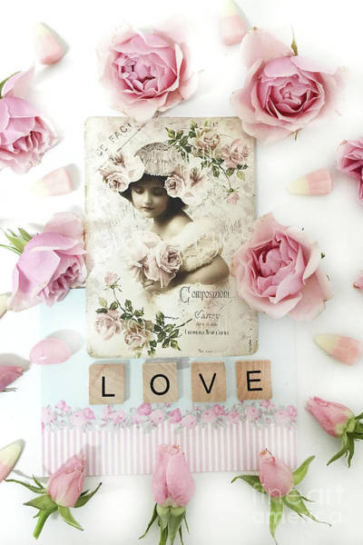 Wall Art - Photograph - Shabby Chic Love Pink Roses Victorian Floral Vintage French Girl Pink Roses Love Decor by Kathy Fornal