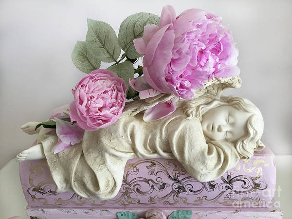 Wall Art - Photograph - Shabby Chic Peonies Angel Decor - Angel Cherubs Pink Peony Floral Print Home Decor by Kathy Fornal