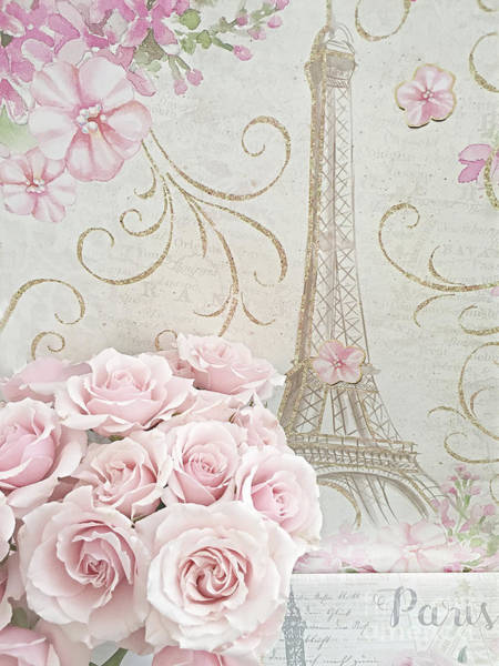 Wall Art - Digital Art - Shabby Chic Pink Roses Eiffel Tower - Parisian Pink Roses Eiffel Tower Decor by Kathy Fornal