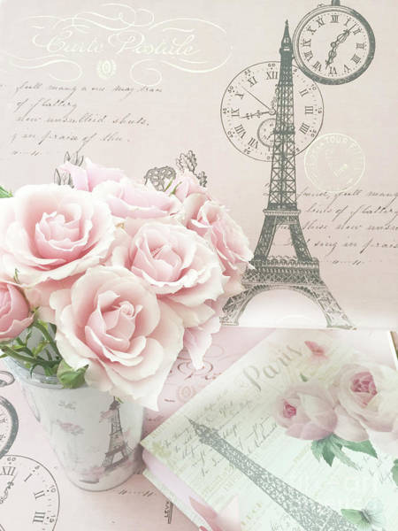 Wall Art - Digital Art - Shabby Chic Pink Roses Parisian Eiffel Tower Decor - Paris Shabby Chic Cottage Roses   by Kathy Fornal